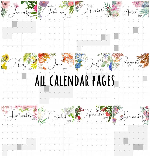 Compilation of all months in botanical wall calendar